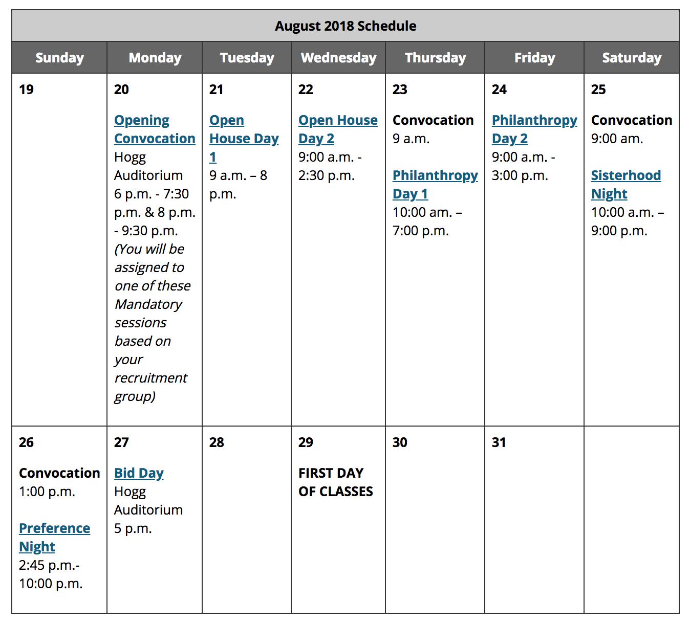 University of Texas Sorority Recruitment Schedule